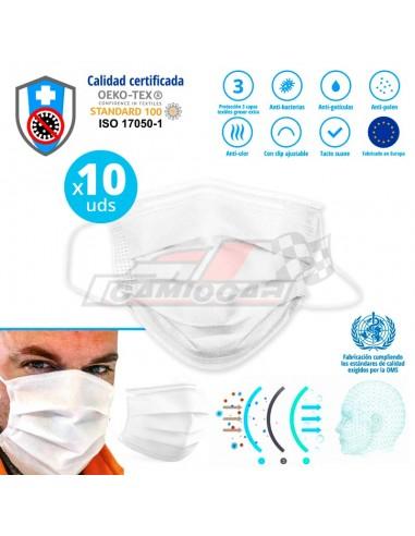 Covid-19-10x Máscara textil de protección 3 capas